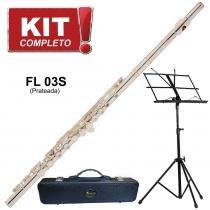 Kit Flauta Eagle FL03S Prateada Transversal em Dó + Case Luxo + Estante de Partitura -