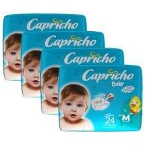 Kit Fralda Capricho Baby Tam M 4 Pacotes - com 24 Unidades Cada Indicador de Umidade