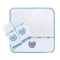 Kit Fraldas de Boca (Babete) 3 Peças Forrado Barrado Piquet Bordado Coroa Trigo Viés Azul - A. constantini enxoval de bebê