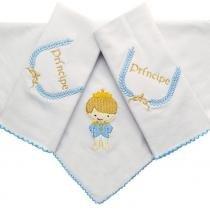 Kit Fraldas de Boca (Babete) 3 Peças Malha Forrada Pequeno Príncipe Azul Bordado - Liny baby