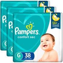 Kit Fraldas Fralda Pampers Confort Sec Tam. G - Extra Sec Pods 3 Pacotes com 38 Unidades Cada