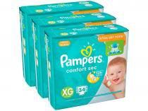 Kit Fraldas Fralda Pampers Confort Sec Tam. XG - Extra Sec Pods 3 Pacotes com 34 Unidades Cada