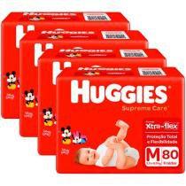 Kit Fraldas Huggies Turma da Mônica Supreme Care - Tam. M 5,5 a 9,5kg 4 Pacotes com 80 Unidades Cada