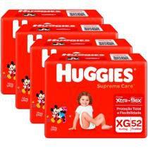Kit Fraldas Huggies Turma da Mônica Supreme Care - Tam. XG 12 a 15kg 4 Pacotes com 52 Unidades Cada