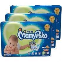 Kit Fraldas MamyPoko Fita Mega Tam. P - 3 Pacotes com 58 Unidades cada