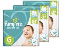 Kit Fraldas Pampers Confort Sec Tam. G - 9 a 12,5kg 3 Pacotes com 60 Unidades Cada