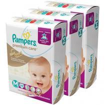Kit Fraldas Pampers Premium Care Mega Tam M - 3 Pacotes Com 48 Unidades Cada