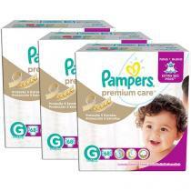 Kit Fraldas Pampers Premium Care Tam G - 3 Pacotes com 68 Unidades Cada