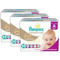 Kit Fraldas Pampers Premium Care Tam M 3 Pacotes com 84 Unidades Cada