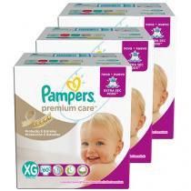 Kit Fraldas Pampers Premium Care Tam XG - 3 Pacotes com 60 Unidades Cada