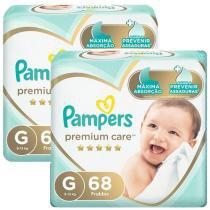 Kit Fraldas Pampers Premium Care Tam. G  - 9 a 13kg 2 Pacotes com 68 Unidades Cada