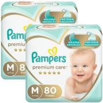 Kit Fraldas Pampers Premium Care Tam. M  - 6 a 10kg 2 Pacotes com 80 Unidades Cada