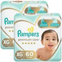 Kit Fraldas Pampers Premium Care Tam. XG  - 11 a 15kg 2 Pacotes com 60 Unidades Cada