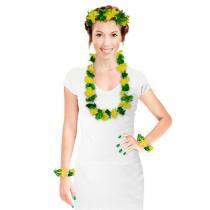 Kit Havaiano Verde e Amarelo Brasil 03 peças - Festabox