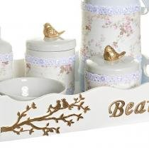 Kit Higiene Pássaros Com 6 Peças, Capa e Nome Do Bebê Quarto Bebê Menina - Potinho de mel