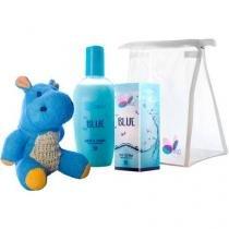 Kit Hyppo Blue Colônia 100ml + Sabonete Líquido - Blue 200ml + Esponja Hipopótamo + Necessaire