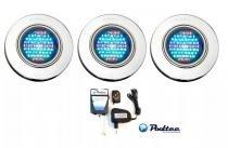 Kit Iluminação para Piscina 3 Led 65 Inox RGB Colorido + Comando e Controle Remoto - Até 27 m² - Pooltec