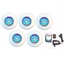 Kit Iluminação para Piscina 5 Led 65 ABS RGB Colorido + Comando e Controle Remoto - Até 45 m² - Pooltec