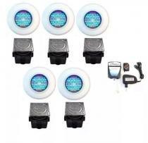 Kit Iluminação para Piscina 5 Led 65 ABS RGB Colorido + Comando e Controle Remoto + Caixa de Passagem - Até 45 m² - Pooltec