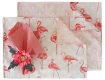 Kit  Jogo Americano e Trilho de Mesa 4 Lugares Flamingo Rosa - Americanos  Cia -