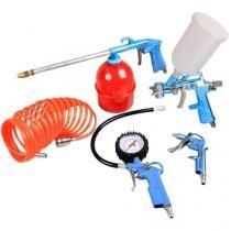 Kit jogo de acessorio 5 pecas para compressor de ar gamma para pintura, limpeza e pulverização - Mtx