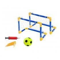 Kit Jogo Futebol Portátil 2 Traves Bola + Bomba Belfix 4880 - Belfix