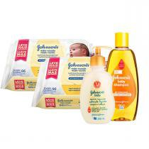 Kit Johnsons Baby: Toalinhas + Shampoo + Sabonete Líquido -