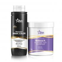 Kit Máscara Restauradora Noblesse K 800g e Matizador Magic Color Efeito Prata 500ml Magic Color - Magic Color