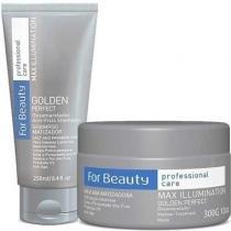 Kit Max Illumination Golden Perfect For Beauty Shampoo 250ml e Máscara 300g - For Beauty
