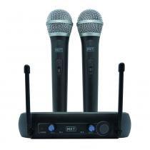 Kit Microfone sem Fio Duplo e Receptor UHF202 - MXT - MXT