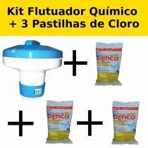 Kit Mini Flutuador Clorador + 3 Pastilhas de Cloro 200g para Piscinas  Genco -
