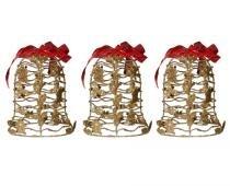 Kit Mini Sino De Natal Dourada Decoracao Natalino 3 Unid - Braslu