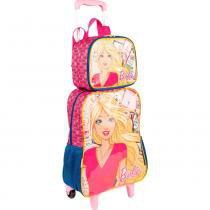 7748ce1f2 Kit mochila Barbie infantil rodinhas com lancheira e estojo Sestini -