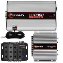 Kit Módulo Taramps TS400X4 400W 2 Ohms + HD8000 8000W 1 Ohm + Crossover Taramps CRX4 4 Vias -