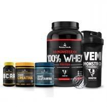 Kit Monster 100 Whey + PowerBCAA + Power Creatina + Power Glutamina + Coqueteleira Vem Monstro - PowerFoods