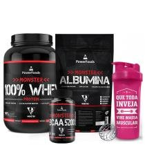 Kit Monster 100 Whey Protein 907g + Albumina 500g + BCAA 100tbs e Coqueteleira - Power Foods - PowerFoods