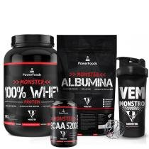 Kit Monster 100 Whey Protein 907g  c/ Monster Albumina 500g + Monster BCAA 100tbs e Coqueteleira PowerFoods