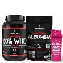 Kit Monster 100 Whey Protein 907g com Monster Albumina Natural  500g e Coqueteleira 700ml - PowerFoods