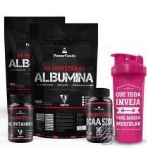 Kit Monster Albumina 500g + BCAA5200 100 tbs + MultiVitamínico 30cáps e Coqueteleira - Power Foods - PowerFoods