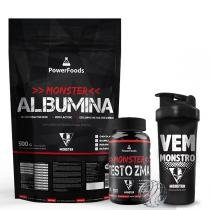Kit Monster Albumina 500g com Monster Testo ZMA 120cáps mais  Coqueteleira 700ml - PowerFoods