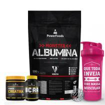 Kit Monster Albumina 500g com Power BCAA 120 cáps mais Power Creatina 300g e Coqueteleira 700ml - PowerFoods