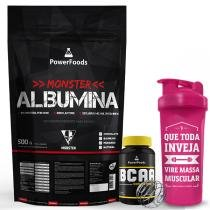 Kit Monster Albumina 500g com Power BCAA 120cáps mais Coqueteleira 700ml - PowerFoods