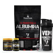 Kit Monster Albumina 500g com Power BCAA 120cáps mais Power Creatina 300g e Coqueteleira 700ml - PowerFoods