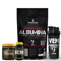 Kit Monster Albumina 500g com PowerBCAA 60cáps mais Power Creatina 100g e Coqueteleira 700ml - PowerFoods