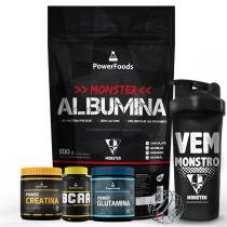 Kit Monster Albumina 500g Power BCAA120cáps+ Power Creatina 300g + Power Glutamin300g e Coqueteleira - PowerFoods