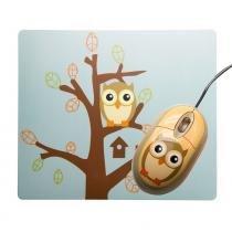 Kit mouse e mousepad com desenho de coruja - Sakar