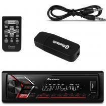 Kit MP3 Player Automotivo Pioneer MVH-S108UI USB RCA Mixtrax + Adaptador Bluetooth Música Recptor - Prime