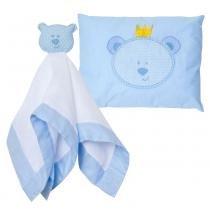 Kit Naninha + Travesseiro Toys Urso Azul Papi - Papi