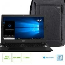 "Kit: Notebook Acer Aspire A315-53-32U4 Intel Core i3 4GB RAM 1TB HD 15.6"" HD Windows 10 + Mochila Acer -"