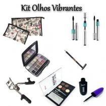 Kit OLHOS Vibrantes: 2 Necessaires + Lapis + Paleta Sobrancelha + Paleta Sombras + Curvador + Delineador + Mascara de Cilios Tango - Ukimix